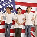 Children In Front Of American Flag by Don Hammond