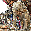 Children Love The Elephants In Patan Durbar Square In Lalitpur-nepal by Ruth Hager