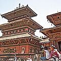 Children On Pagodas In Bhaktapur Durbar Square In Bhaktapur-nepal by Ruth Hager