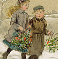 Children Playing In The Snow  by George Goodwin Kilburne