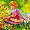 Children's Art - Little Girl With Puppy - Paintings For Children by Carole Spandau