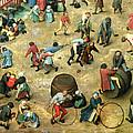 Childrens Games Kinderspiele Detail Of Bottom Section Showing Various Games, 1560 Oil On Panel by Pieter the Elder Bruegel