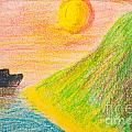 Child's Hand Drawing Of Sea And Mountain Landscape With Crayons by Aleksandar Mijatovic