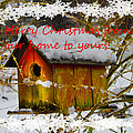 Chilly Birdhouse Holiday Card by Debra and Dave Vanderlaan