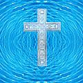 China Blue Cool Pool Cross by Anne Cameron Cutri