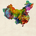 China Watercolor Map by Michael Tompsett