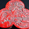 Chinese Cinnabar Trefoil Container by Anonymous
