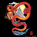 Chinese Dragon On Black by Melissa A Benson