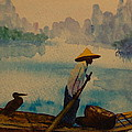 Chinese Fisherman With Commarant by Lynn Beazley Blair