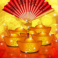 Chinese Gold Bars And Fan With Text Happy New Year by Jit Lim