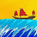 Chinese Junk And Wave by Raka Cheops