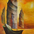 Chinese Junk In Ochre by Tracey Harrington-Simpson