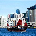 Chinese Junk Sail In Hong Kong Harbor by Mhiss Little