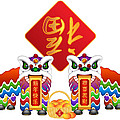 Chinese Lion Dance Pair With Symbols Illustration by Jit Lim
