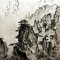 Chinese Mountains With Poem In Ink Brush Calligraphy Of Love Poem by Peter v Quenter