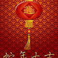 Chinese New Year Snake Lantern On Scales Pattern Background by Jit Lim