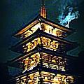 Chinese Pagoda At Night With Full Moon by John Malone