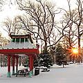 Chinese Pavilion Winter Sunrise by Scott Rackers