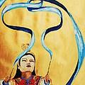 Chinese Ribbon Dancer  Blue Ribbon by Cris Motta