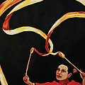 Chinese Ribbon Dancer Yellow Ribbon by Cris Motta