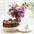 Chocolate Cake With Flowers by Elena Elisseeva