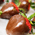 Chocolate Covered Strawberries Painterly 1 by Andee Design