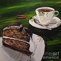 Chocolate Hazelnut Cake And Art Deco Fine China by John Klein