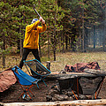 Chopping Wood For The Campfire by Brenda Jacobs