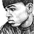 Chris Brown Art Drawing Sketch Portrait by Kim Wang