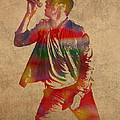 Chris Martin Coldplay Watercolor Portrait On Worn Distressed Canvas
