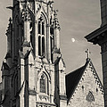 Christ Church Cathedral And Moon by Scott Rackers