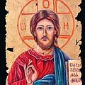 Christ Icon Fresco by Lena  Owens OLena Art