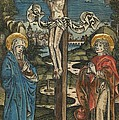 Christ On The Cross With Mary And Saint John by German School