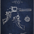 Christ Revolver Patent Drawing From 1866 - Navy Blue by Aged Pixel