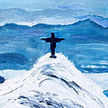 Christ Statue In Rio In Blue by Kevin Croitz