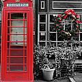 Christmas - The Red Telephone Box And Christmas Wreath IIi by Lee Dos Santos