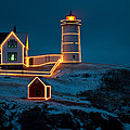 Christmas At Nubble Light by Paul Mangold