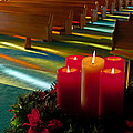 Christmas Candles At Church Art Prints by Valerie Garner