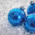Christmas Card With Vintage Blue Ornaments by Edward Fielding