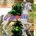 Christmas Carousel Horse With Pine Branch by Mary Deal