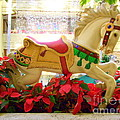 Christmas Carousel Horse With Poinsettias by Mary Deal