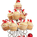 Christmas Cupcakes On Stand by Amanda Elwell