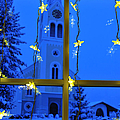Christmas Decoration - Yellow Stars And Blue Church by Matthias Hauser