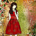 Christmas Eve Mixed Media Folk Artwork Of Young Girl by Janelle Nichol
