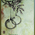 Christmas Greeting Card With Ink Brush Drawing by Peter v Quenter