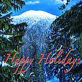 Christmas Holidays Scenic Snow Covered Mountains Looking Through The Trees  by Jerry Cowart