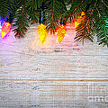 Christmas Lights With Pine Branches by Elena Elisseeva