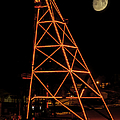 Christmas Moon Over Butte Headframe by Fran Riley