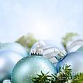 Christmas Ornaments On Blue by Elena Elisseeva