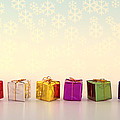 Christmas Presents And Snowflakes by Peggy Collins